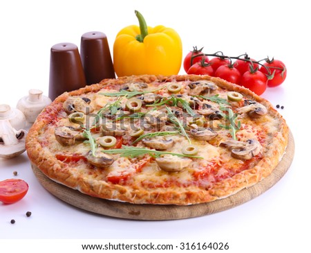 Tasty pizza with vegetables and arugula isolated on white - stock photo