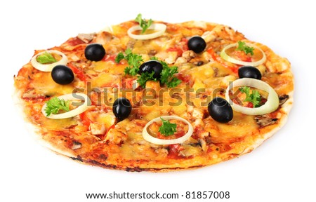 tasty pizza with vegetables and meat isolated on white