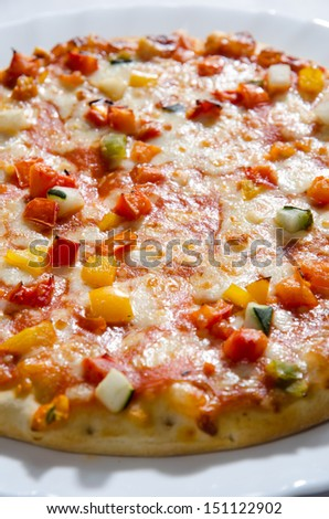 Tasty pizza with vegetables, mozzarela and tomato souce.