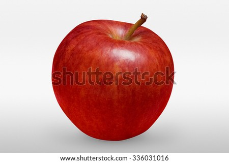 Tasty red apple on white background in front view with clipping path