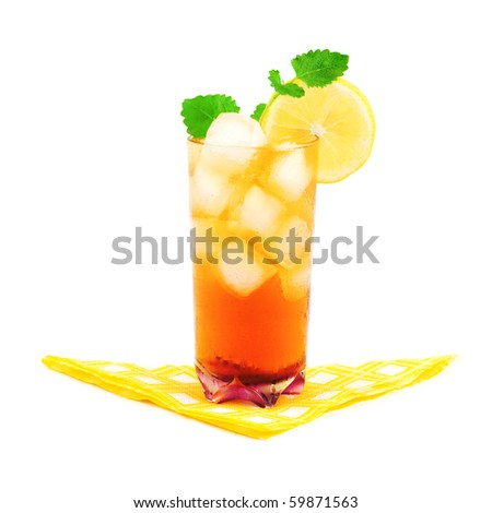 Tasty, refreshing  ice tea, with lemon. White background. - stock photo