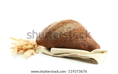 tasty rye bread with ears , isolated on white