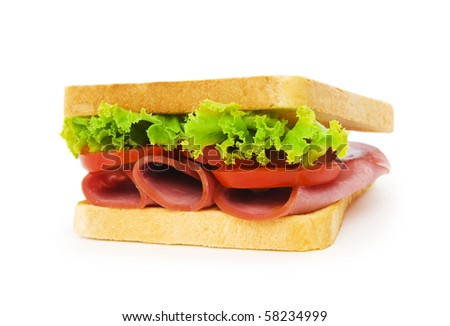 Tasty sandwich isolated on the white background - stock photo