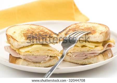 tasty sandwich of ham and cheese omelet isolated