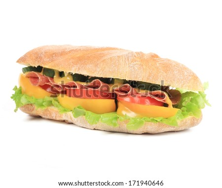 tasty sandwich with ham and vegetables isolated on white