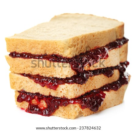 Tasty sandwich with jam isolated on white - stock photo