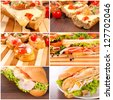 Tasty sandwiches on the wooden board - stock photo