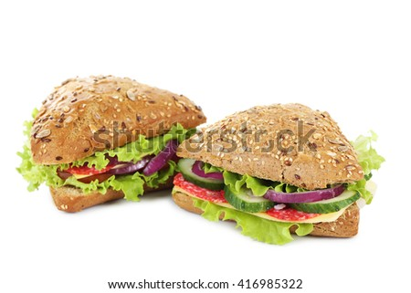 Tasty sandwiches with salami isolated on a white - stock photo