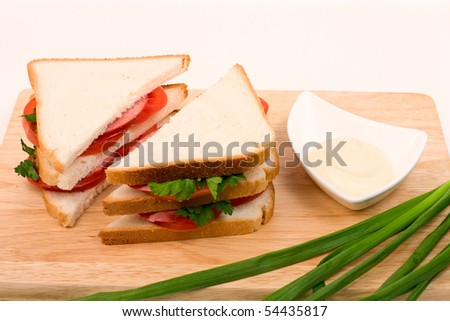 Tasty sandwiches with sausage, tomatoes and herbs