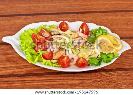Tasty seafood salad with vegetable