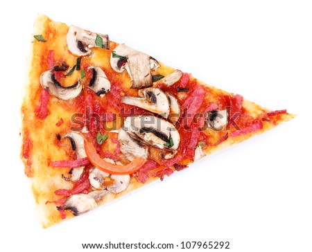 tasty slice of pizza isolated on white - stock photo