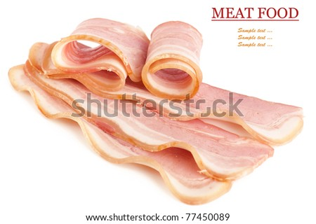 Tasty sliced pork bacon isolated on white background - stock photo