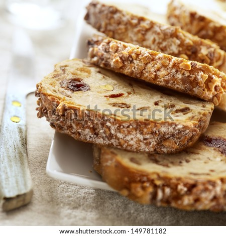 tasty sliced raisin bread - stock photo