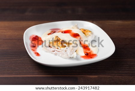 Tasty Strudel With Cranberry - stock photo