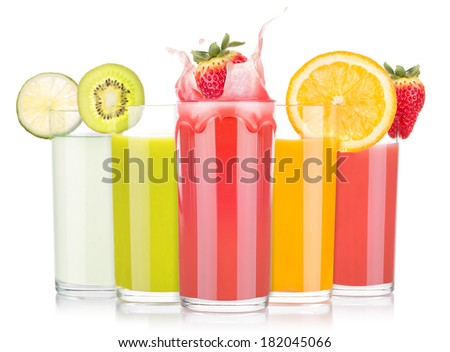 tasty summer fruit drinks in glass with splash isolated on a white background