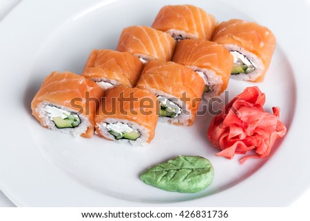 Tasty sushi on plate