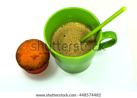 tasty sweet cupcake and hot aromatic coffee on white background - stock photo
