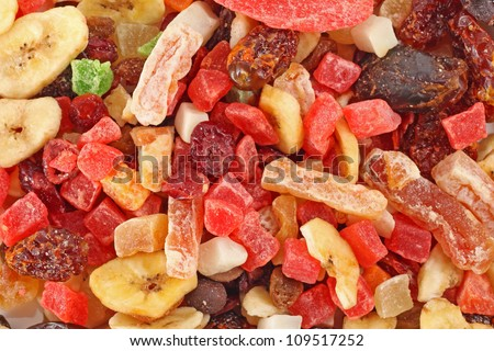tasty sweet mix dried fruits colorful background - stock photo