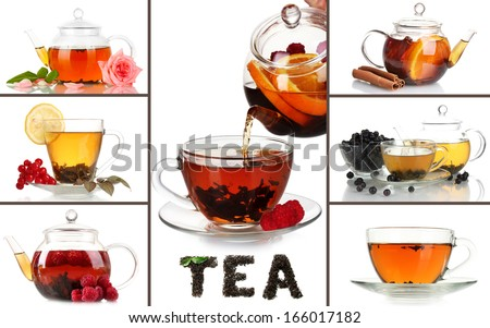 Tasty tea collage - stock photo