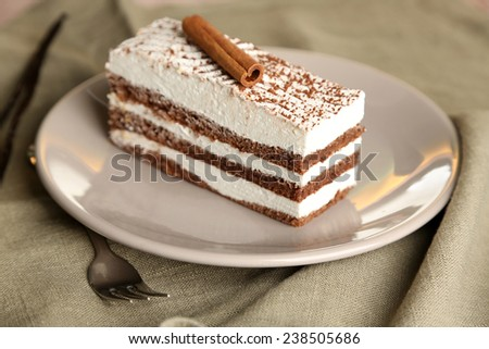 Tasty tiramisu cake on plate, close up - stock photo