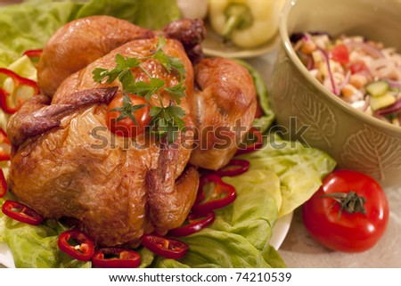 tasty traditional food with chicken and vegetables - stock photo