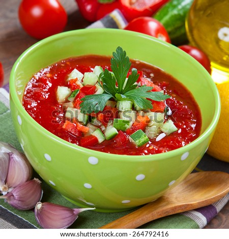 Tasty vegetarian gazpacho soup on the table  - stock photo