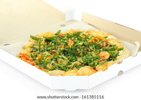 Tasty vegetarian pizza in box, isolated on white - stock photo