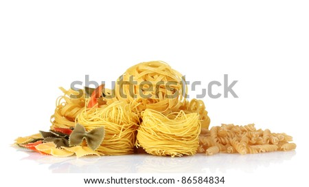 tasty vermicelli and spaghetti isolated on white - stock photo