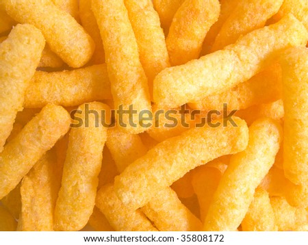Tasty yellow chips in a close-up position