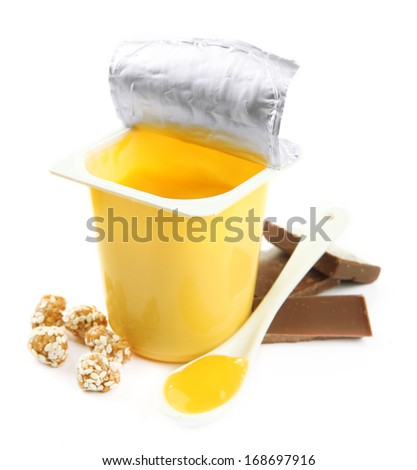 Tasty yogurt in open plastic cup isolated on white - stock photo