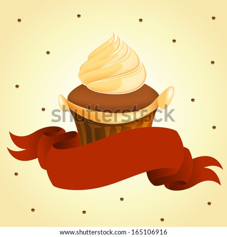 tasty yummy cup cake with red banner retro art raster version