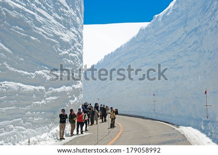 TATEYAMA, JAPAN - APRIL 18: Snow corridor in Tateyama on April 18 2012. This snow wall is a part of Kurobe Alpine Route which offers spectacular views around Tateyama mountain.