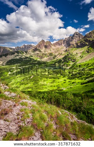 Tatra Mountains in the clouds in summer - stock photo