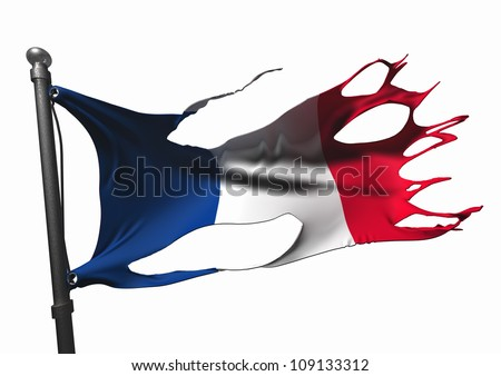 tattered french flag on white - stock photo