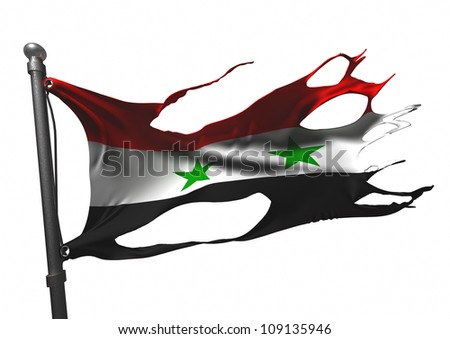 tattered syrian flag on white - stock photo