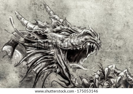 Tattoo art, sketch of a anger medieval dragon - stock photo