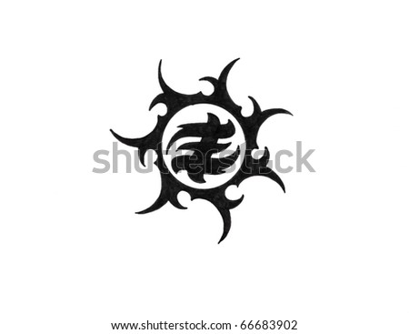 Tattoo art, sketch of a black tribal, sun