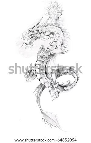 Tattoo art, sketch of a dragon - stock photo