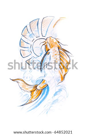 Tattoo art, sketch of a japanese fish - stock photo