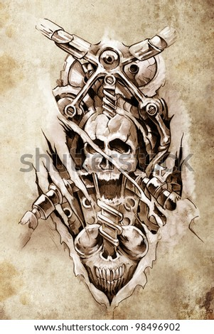 Tattoo art, sketch of a machine gears and skull - stock photo