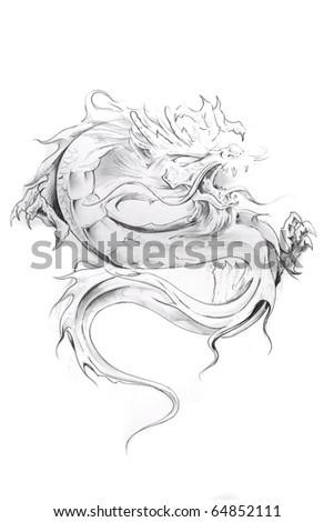 Tattoo art, sketch of an oriental dragon - stock photo