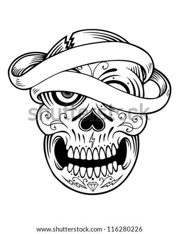 tattoo banner sugar skull image - stock photo