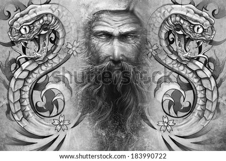 Tattoo design over grey background. textured backdrop. Artistic image - stock photo