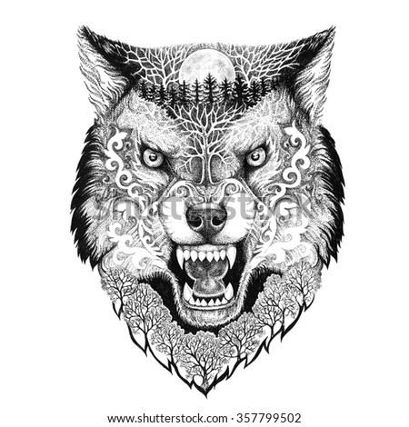 Tattoo head wolf grinning with trees and moon on fur