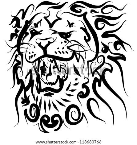 tattoo lion - stock photo