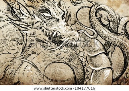 Tattoo scroll stock images royalty free images vectors shutterstock - Dessin dragon japonais ...