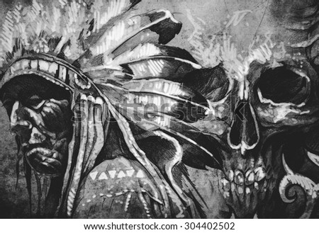 Tattoo sketch of American Indian tribal chief with skull - stock photo