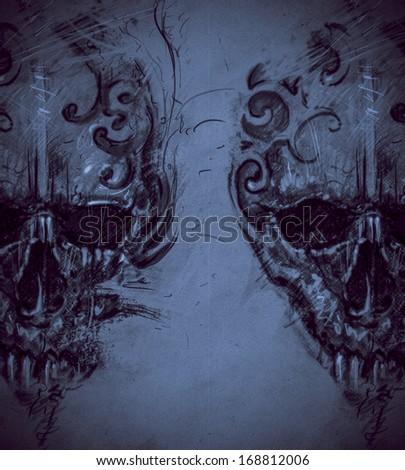 Tattoo skull over vintage paper, design handmade - stock photo