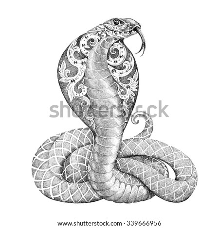 Tattoo snake cobra with a beautiful floral ornament on the open cowled - stock photo