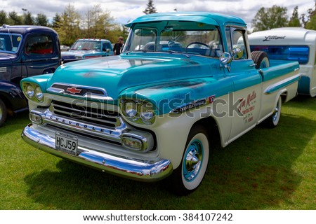 Taupo, New Zealand - Circa October 2014: A 1958 Chevrolet Apache pickup truck is on display at Taupo Car Show - stock photo